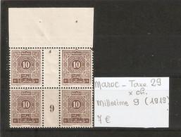 MAROC  .  TAXE N° 29 .  X CHARNIERE . MILLESIME 9 ( 1919 )  . VOIR SCAN R/V . - Postage Due