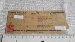 Zettel Flüchtlings  - Meldeschein Sammelstelle Flüchtlingsdurgangslager Friedland / Leine 1947 - 1939-45