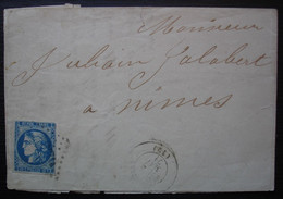 1871 Cérès émission De Bordeaux Sur Lettre Incomplète De Salon - 1849-1876: Periodo Clásico