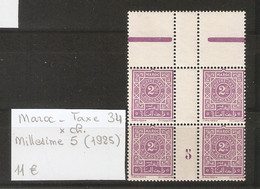 MAROC  .  TAXE N° 34 .  X CHARNIERE . MILLESIME 5  ( 1925  )  . VOIR SCAN R/V . - Postage Due
