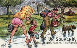 UN SOUVENIR DE SAINT-SEBASTIEN-les-NANTES - Carte Illustrée Par Rap - Retour De Pêche Sous La Pluie - Saint-Sébastien-sur-Loire