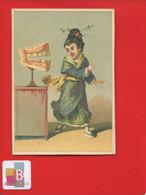 Rare Chromo Lauronce Personnage Chine Ou JAPON Jeune Fille Kimono PEUR DENTIER DENT DENTISTE - Altri