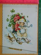KOV 8-219 - New Year, Bonne Annee, Children, Enfant, Sledge, Traîneaux, Dog, Chien - Anno Nuovo