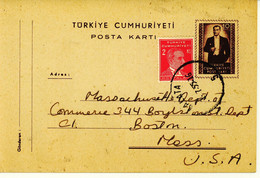 Turkey 1955 Postal Card To USA (195) - Interi Postali