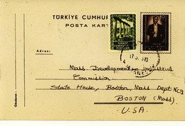 Turkey 1953 Postal Card To USA (196) - Interi Postali