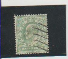 GRANDE-BRETAGNE. (Y&T) 1902-1910 - N°106  *Anniversaire De L'Avénement D'Edouard VII*   1/2d. Obli () - Gebraucht