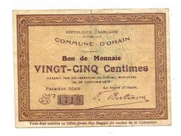 1914-1918 // COMMUNE D'OHAIN (Nord 59) // Janvier 1915 // Bon De 25 Centimes - Bonos