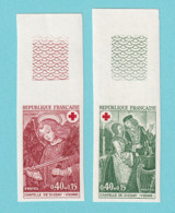 1970, YT No. 1661/1662, Imperf, Red Cross, Fresques De La Chapelle De Dissay, MNH - Non Dentellati