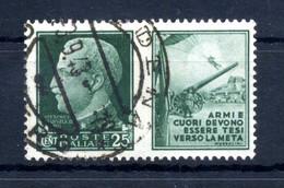 1942 REGNO Propaganda Di Guerra N.2 USATO 25 Centesimi Verde ESERCITO - Propaganda De Guerra