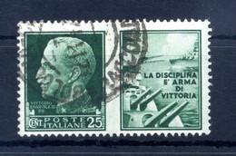 1942 REGNO Propaganda Di Guerra N.1 USATO 25 Centesimi Verde MARINA - Propaganda De Guerra