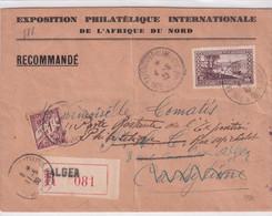 ALGERIE - 1930 - ENVELOPPE RECOMMANDEE De ALGER EXPO PHILATELIQUE => CASTIGLIONE RETOUR Et TAXEE POSTE RESTANTE - Lettres & Documents
