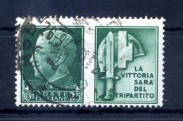 1942 REGNO Propaganda Di Guerra N.4 USATO 25 Centesimi Verde MILIZIA - Propaganda De Guerra
