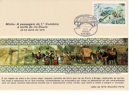 CARTE MAXIMUM PORTUGAL 100ème ANNIVERSAIRE DE LA LIGNE DE CHEMIN DE FER NORD SUD - Azores