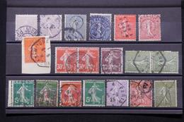 FRANCE - Lot De 19 Exemplaires Semeuses Avec Oblitérations Diverses, à Voir ! - L 79330 - 1921-1960: Période Moderne