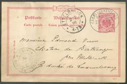E.P. Allemand 10pfg. Obl. Ambulant Ovale BASEL-LUXEMBOURG BAHNPOST ZUG 163 Du 2/7/1898 Vers Birtrange Par Ettelbrück.- - Affrancature Meccaniche Rosse (EMA)