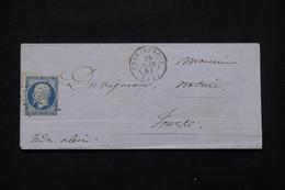 FRANCE - Enveloppe De Châteauroux Pour Tours  En 1853, Affranchissement Napoléon 25ct  (N° 10 ), PC 795 - L 79336 - 1849-1876: Période Classique