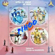 Miniature Sheet Fromindia Covid 19 Pandemic Corona Virus Disease Cure Health Worker Nurse Medical - Enfermedades