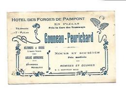 CARTE DE VISITE HOTEL DES FORGES DE PAIMPONT PLELAN GARE TRAMWAYS TRAGOUNNEAU PEURICHARD NOCES SOCIETES REMISES ECURIES - Visitenkarten