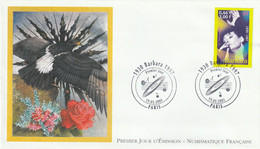 ENVELOPPE 1er JOUR . DU 19.05.2001 . BARBARA 1930.1997. AIGLE NOIR DISQUE VYNIL . CACHET PARIS - 2000-2009