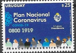 URUGUAY, 2020 ,MNH,  HEALTH, COVID-19,1v - Otros