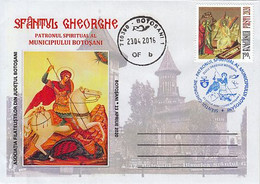 ST GEORGE SLAYING THE DRAGON, BOTOSANI TOWN, SPECIAL COVER, 2016, ROMANIA - Cartas