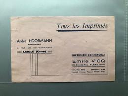 Buvard IMPRIMERIE Andre HORMANN à LAIGLE Et Emile VICQ à FLERS - Sin Clasificación
