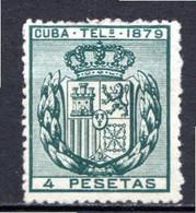 CUBA - (Occupation Espagnole) - 1879 - Télégraphe - N° 47 - 4 P. Vert Foncé - (Armoiries) - Telegrafo