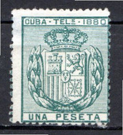 CUBA - (Occupation Espagnole) - 1880 - Télégraphe - N° 48 - 1 P. Vert-bleu - (Armoiries) - Telegrafo
