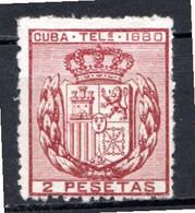 CUBA - (Occupation Espagnole) - 1880 - Télégraphe - N° 49 - 2 P. Carmin - (Armoiries) - Telegrafo