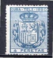 CUBA - (Occupation Espagnole) - 1880 - Télégraphe - N° 50 - 4 P. Bleu - (Armoiries) - Telegrafo
