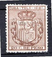 CUBA - (Occupation Espagnole) - 1881 - Télégraphe - N° 51 - 20 C. Brun - (Armoiries) - Telegrafo