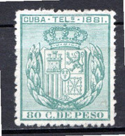 CUBA - (Occupation Espagnole) - 1881 - Télégraphe - N° 53 - 80 C. Vert - (Armoiries) - Telegrafo