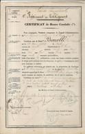 1ER REGIMENT DE VOLTIGEURS . GARDE IMPERIALE . CERTIFICAT BONNE CONDUITE . 1862 - Documents