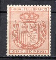 CUBA - (Occupation Espagnole) - 1890 - Télégraphe - N° 68 - 40 C. Brun-rouge - (Armoiries) - Telegrafo