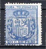 CUBA - (Occupation Espagnole) - 1894 - Télégraphe - N° 76 - 20 C. Bleu - (Armoiries) - Telegrafo