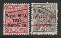 POLOGNE - N°373 A/B Obl (1934) Exposition Philatélique De Katowice - Gebruikt