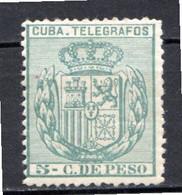 CUBA - (Occupation Espagnole) - 1896 - Télégraphe - N° 78 - 5 C. Vert-bleu - (Armoiries) - Telegrafo