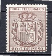 CUBA - (Occupation Espagnole) - 1896 - Télégraphe - N° 80 - 20 C. Sépia - (Armoiries) - Telegrafo