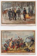 CHROMO Didactique Chocolat Aiguebelle Guerre De 1870 Bataille De Champigny Embuscade De Francs-tireurs (2chromos) - Aiguebelle