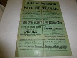 BOURBOURG Fête Victoire Et Jeanne D'Arc,1er Mai 1960, Football Dunkerque Wormhorst, Affiche Ancienne Ref 194 - Plakate