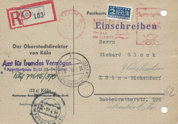 Köln, Geschäftskarte Vom Oberstadtdirektorvom 13.7.1949 - Zona Anglo-Americana