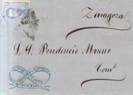 Año 1872 Edifil 121 10c Amadeo I Carta Matasellos Rombo Barcelona Membrete Traserra Y Codina - Cartas