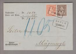 Schweiz Sitzende 1881-03-12 Baden Nachnahme Nach Mägenwyl Mit 20+25 Rp. Zu# 32+30 - Unclassified