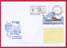 4494 Marine, PH Jeanne D'Arc, Campagne 2009-2010, Escale à Québec, Canada, Oblit. Mécanique JDA, 12-04-2010, Timbre Jean - Posta Marittima
