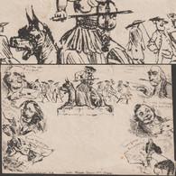 Grande-Bretagne 1840. Caricature De Mulready, Spooner. Par La Poste. Lecture De Lettres, Pirate, âne Et Violon - Anes