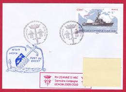 4549 Marine, PH Jeanne D'Arc, Campagne 2009-2010, Retour à Brest, Oblit. BT Dernier Jour, 27-05-2010, Timbre Jeanne D'Ar - Correo Naval