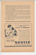 Publicité 1937 Lait Nestlé Bébé Biberon Allaitement Traitement Tri-Complex 17 Rue Bergère Paris Panier à Linge 241/9 - Zonder Classificatie