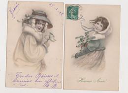 2 Cartes Fantaisie  .M.M.VIENNE Nr 338 /  Heureuse Année. Jeunes Filles , Gui , Houx - Non Classificati