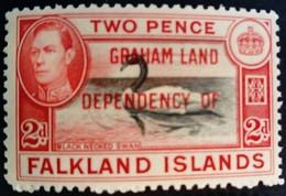 Falkland 1944 Animal Oiseau Bird Cygne Swan Surchargé Overprinted DEPENDENCY OF GRAHAM LAND Yvert 11 * MH - Falklandinseln