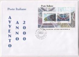 """Italia - 2000 - FDC Cavallino """"Avvento Anno Duemila"""" 4^ Serie In BF MNH** (foglietto Su Maxi-busta) - F.D.C."""